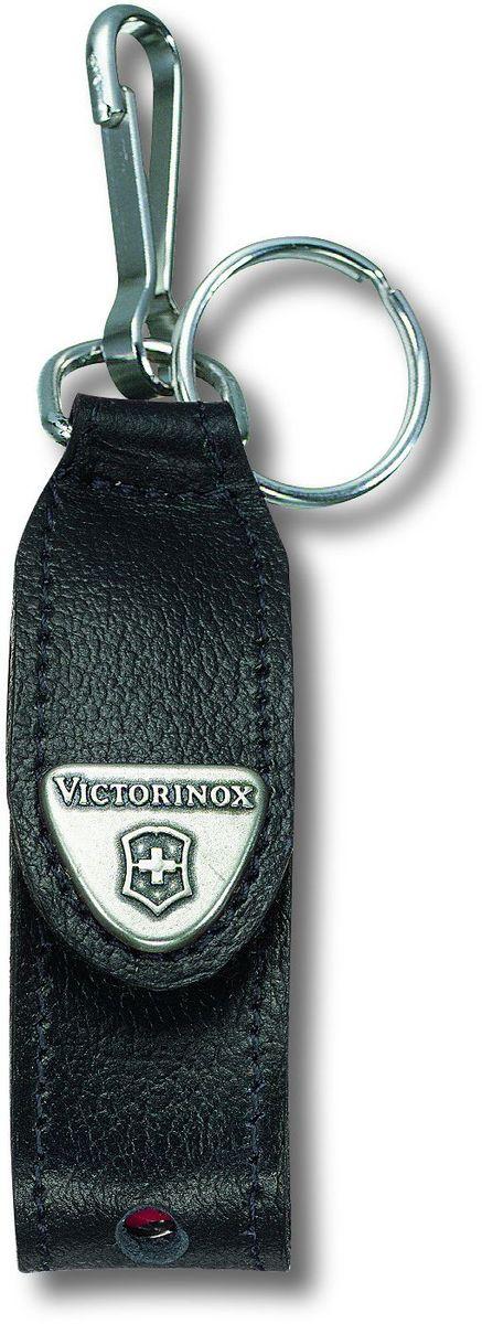 Чехол для ножей-брелоков Victorinox, с кольцом для ключей, цвет: черный, серый металлик