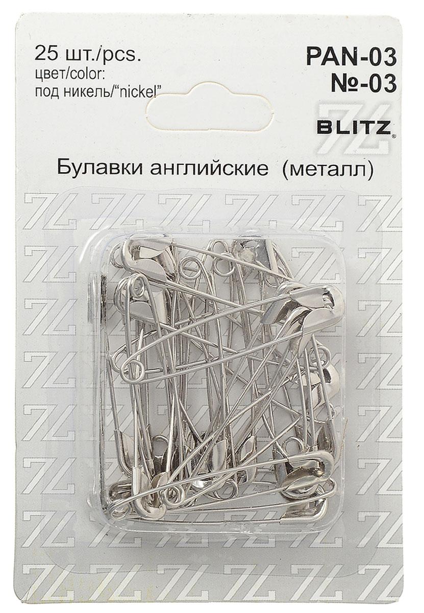 Булавки английские Blitz, цвет: никель, 4,5 см, 25 шт цена