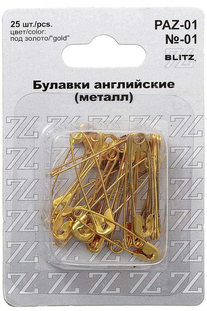 Булавки английские Blitz, цвет: золотистый, 3 см, 25 шт blitz