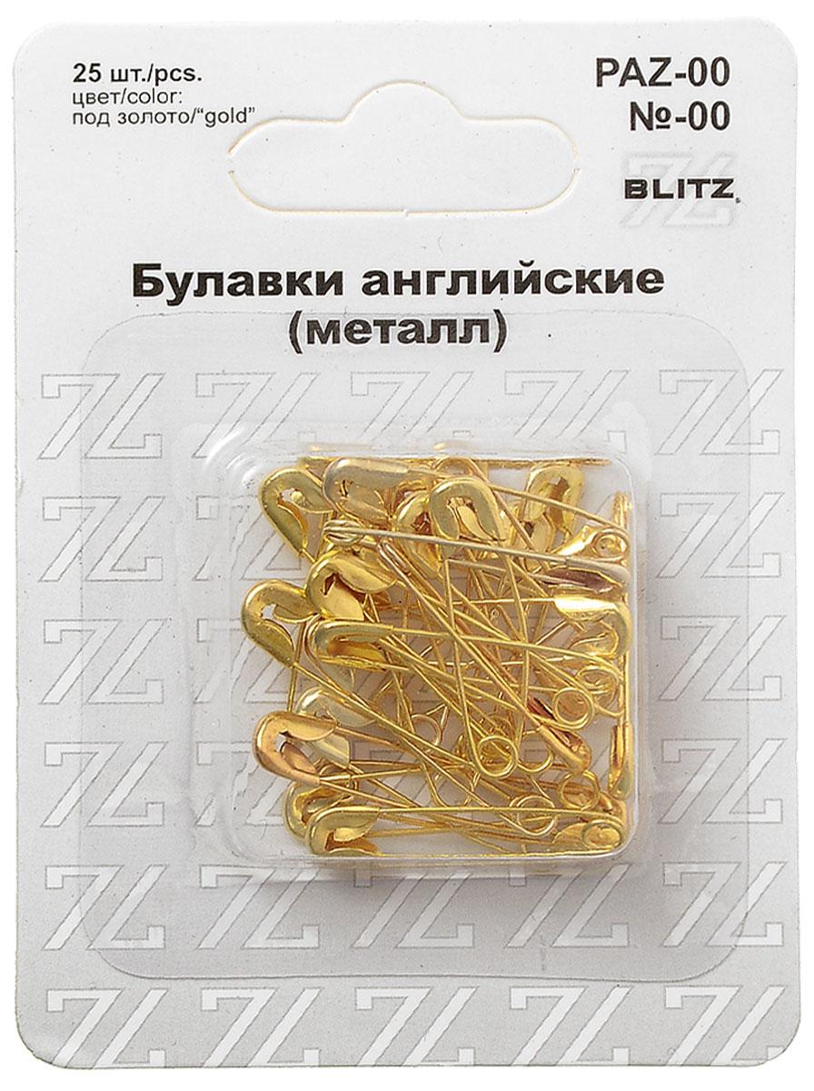 Булавки английские Blitz, цвет: золотистый, 2,2 см, 25 шт alfred von urbanitzky blitz und blitz schutzvorrichtungen classic reprint
