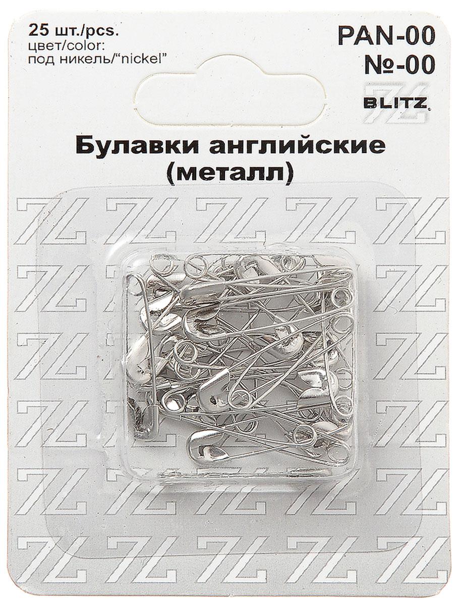 Булавки английские Blitz, цвет: никель, 2,2 см, 25 шт blitz