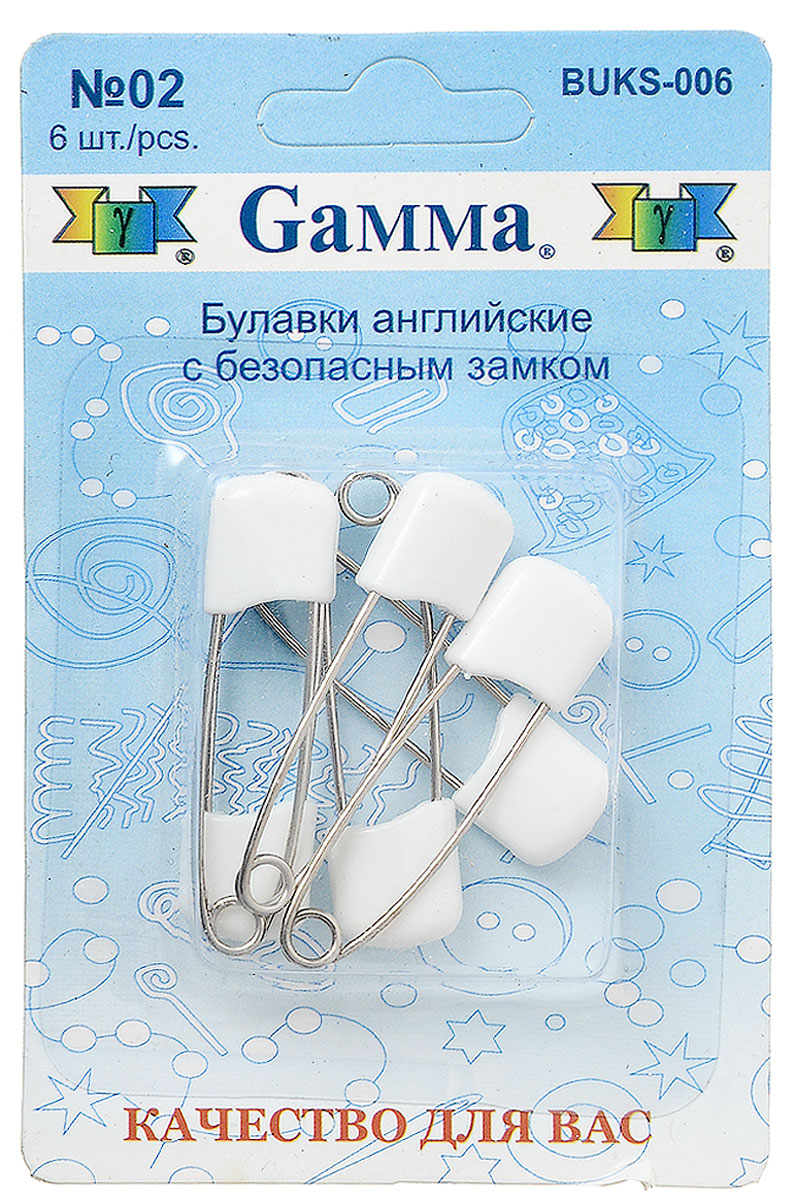 Булавки английские Gamma, с безопасным замком, цвет: белый, стальной, 6 шт булавки для шитья gamma ромашка 40 шт