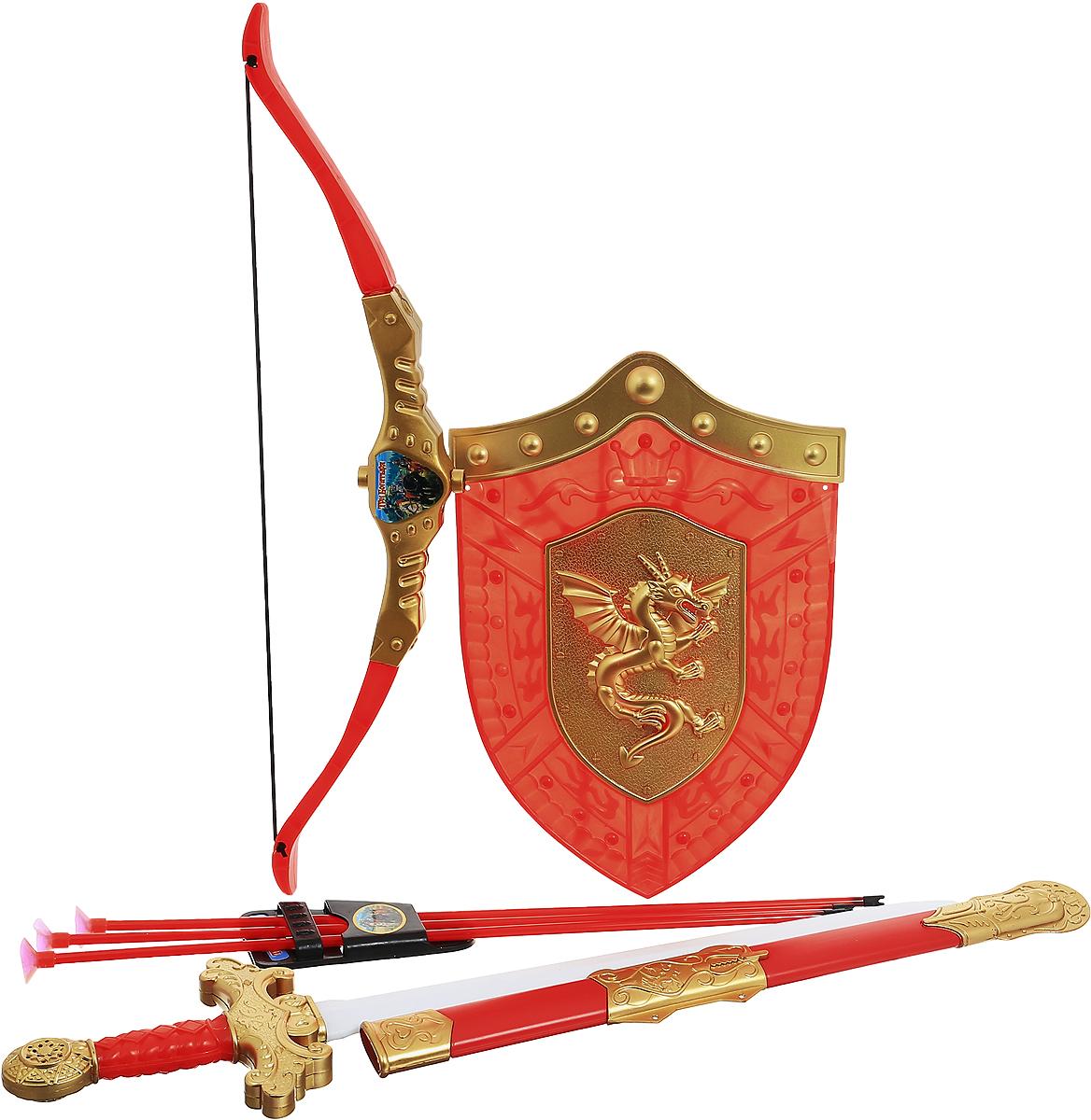 Играем вместе Набор оружия Три богатыря 8 предметов цвет красный золотистый лук со стрелами три богатыря