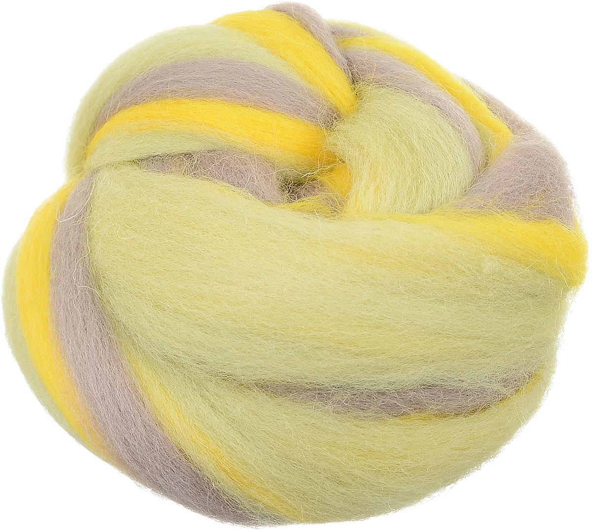 """Шерсть для валяния """"Gamma"""", цвет: желтый, серый, светло-зеленый (6110), 50 г"""