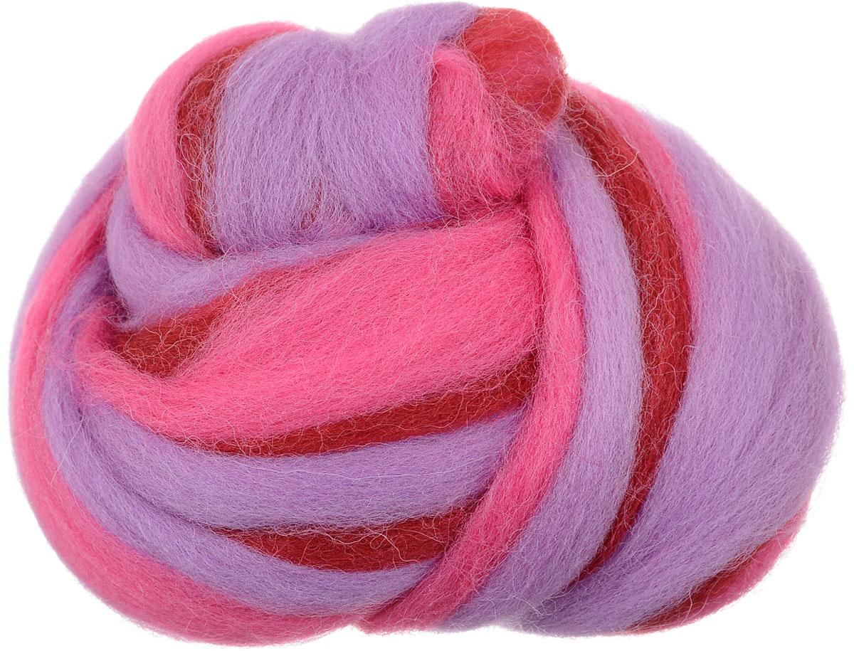 Шерсть для валяния Gamma, цвет: сиреневый, красный, розовый (6114), 50 г шерсть для валяния астра тонкая цвет розовый 0160 100 г