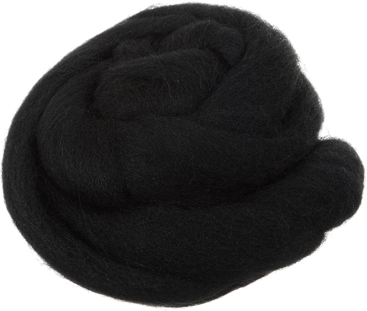 Шерсть для валяния Gamma, полутонкая, цвет: черный (0140), 50 г шарп лори игрушки и зверушки своими руками техника валяния шерсти