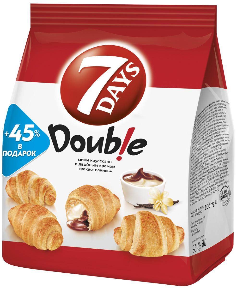 7DAYS Double! Мини-круассаны с двойным кремом Какао-Ваниль, 105 г