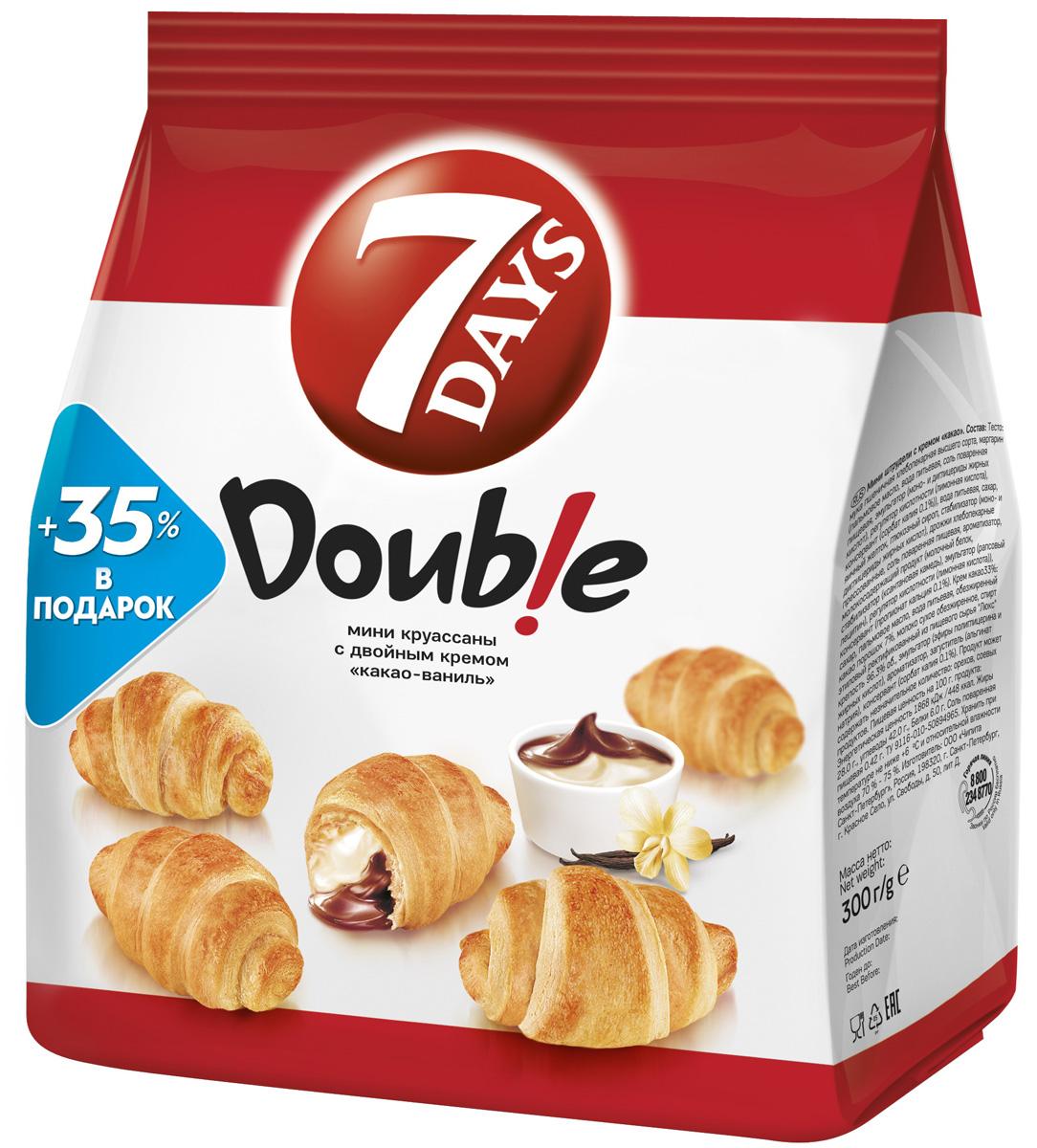 7DAYS Double! Мини-круассаны с двойным кремом Какао-Ваниль, 300 г
