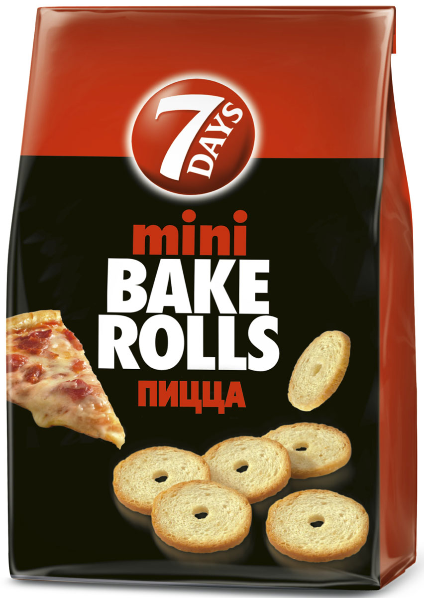7DAYS Bake Rolls Мини-cухарики Пицца, 80 г цена