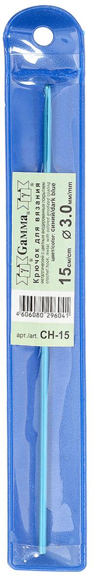 Крючок для вязания Gamma, металлический, цвет: синий, диаметр 3 мм, длина 15 смCH-15_BlueКрючок Gamma выполнен из высококачественного металла с анодированным покрытием. Анодирование является надежным способом защиты металла от коррозии, образуя на поверхности пленку, которая не отслаивается от металла и обладает высокой износостойкостью. Крючок предназначен для вязания и плетения из ниток, ручного изготовления полотна. Идеально гладкая головка и стержень крючка обеспечивают равномерное скольжение петель. Вязание крючком применяют как для изготовления одежды целиком, так и отделочных элементов одежды или украшений. Вы сможете вязать для себя и делать подарки друзьям. Рукоделие всегда считалось изысканным, благородным делом. Диаметр крючка: 3 мм. Длина крючка: 15 см.