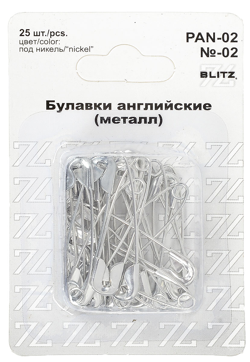 Булавки английские Blitz, цвет: никель, длина 3,6 см, 25 шт alfred von urbanitzky blitz und blitz schutzvorrichtungen classic reprint