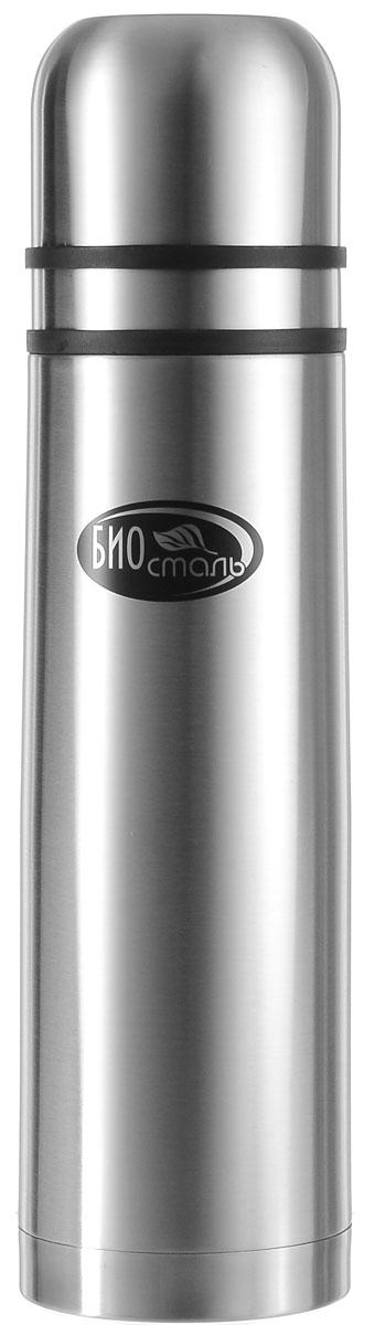 """Термос """"Biostal"""", с 2 чашками, цвет: серебряный, 1 л"""