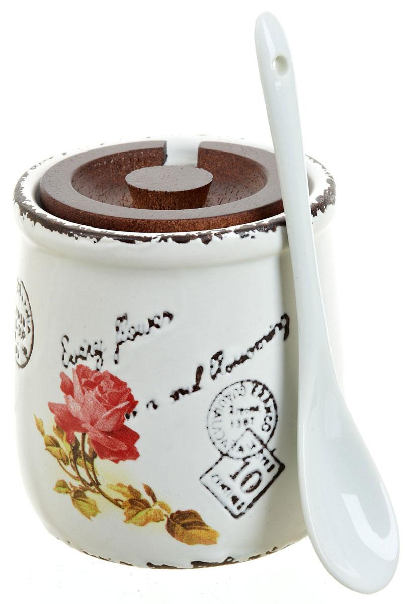 Банка для сыпучих продуктов ENS Group Чайная роза, с ложой, 250 мл банка для сыпучих продуктов персидская роза