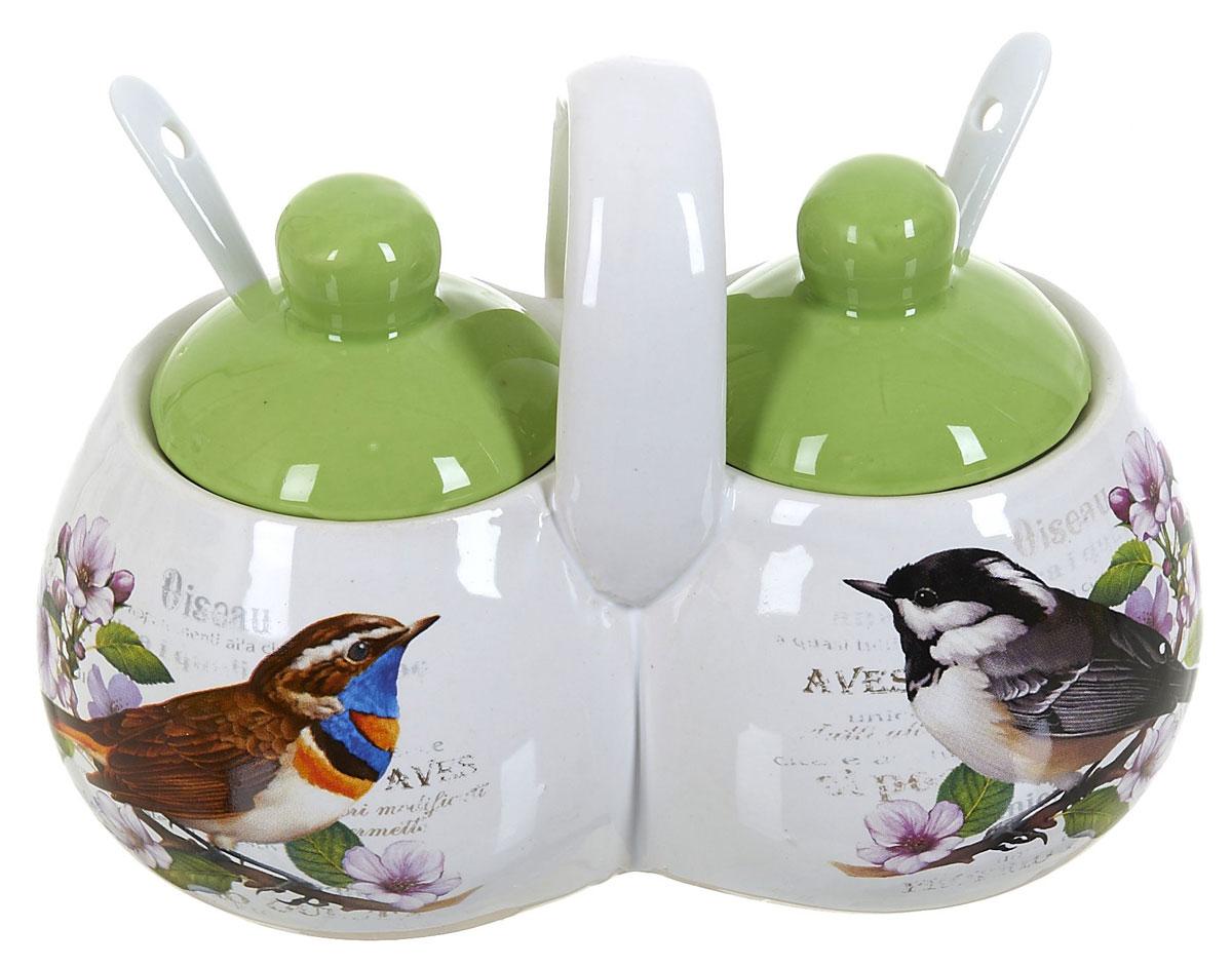 Банка для сыпучих продуктов Polystar Birds, двойная, с ложками, 250 мл банка для сыпучих продуктов чай кантри хоум page 2