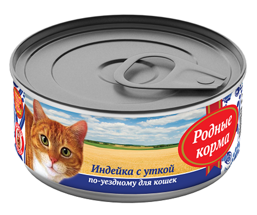 """Консервы Родные корма """"Индейка с уткой по-уездному"""", для кошек, 100 г"""