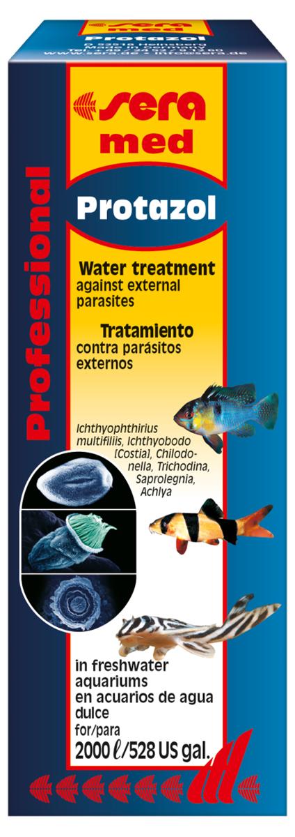 Средство для воды Sera Protazol, 100 мл2182Активное вещество Protazolа - Bis(4-dimethylamino-phenyl) phenyl methylium hydroxide (основание малахитвого зеленого) высокоэффективно против стадии бродяжек в развитии этого паразита (когда паразит свободно плавает в воде в поисках хозяина). В то же время он хорошо переносится рыбами. Помимо Ichthyophthirius multifiliis, Protazol также эффективен против других ихтиопатогенных реснитчатых, таких как Trichodina sp. и Chilodonella sp. Внимание: В случае заражения рыб ихтиофтириозом постепенное повышение температуры аквариумной воды до 30 °C повысит шансы на успешное излечение.