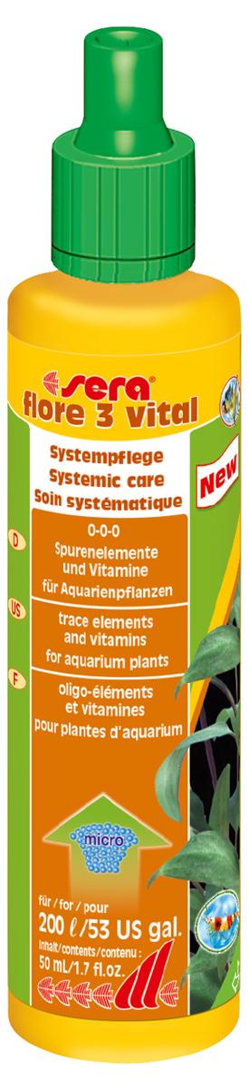 Удобрение для аквариумных растений Sera Flore 3 Vital, 50 мл удобрение комплексное для аквариумных растений sera florenette a