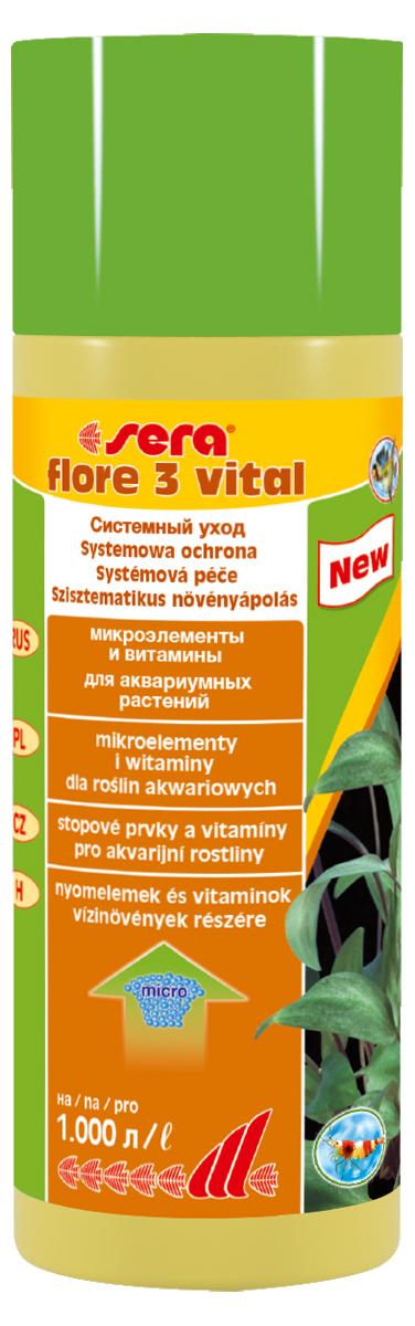 Удобрение для аквариумных растений Sera Flore 3 Vital, 250 мл удобрение комплексное для аквариумных растений sera florenette a