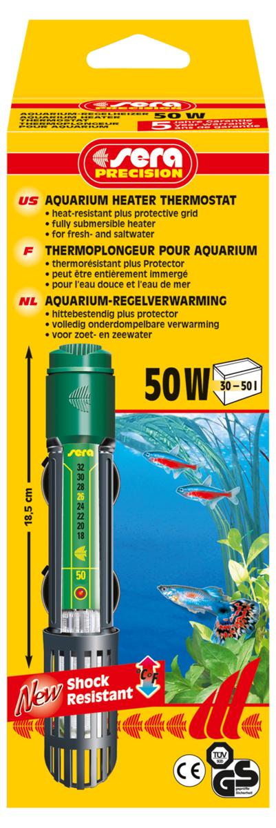 Нагреватель для аквариума Sera Precision, 50 Вт нагреватель sera precision 300w aquarium heater thermostat protective grid с защитной сеткой регулируемый для воды в аквариуме 300вт
