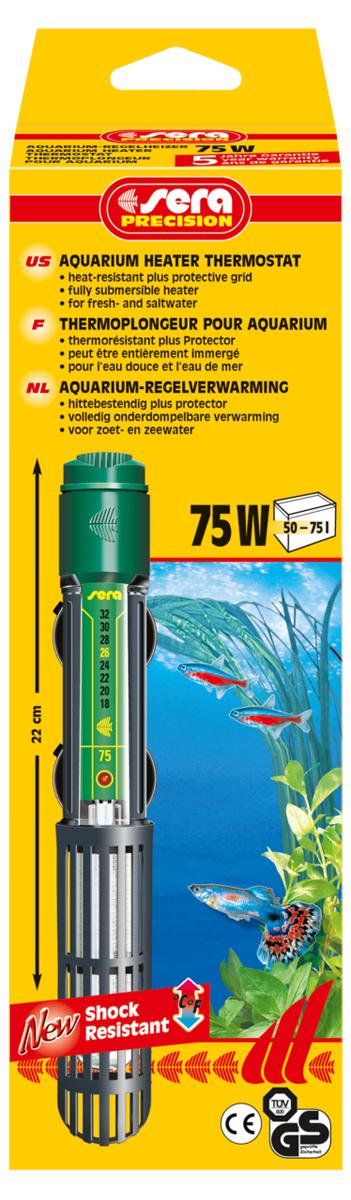 Нагреватель для аквариума Sera Precision, 75 Вт нагреватель sera precision 300w aquarium heater thermostat protective grid с защитной сеткой регулируемый для воды в аквариуме 300вт