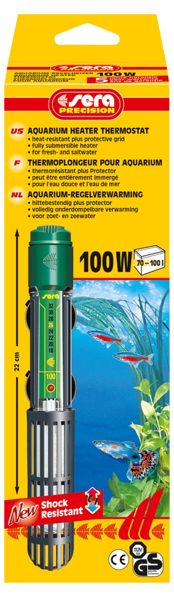 Нагреватель для аквариума Sera Precision, 100 Вт нагреватель sera precision 300w aquarium heater thermostat protective grid с защитной сеткой регулируемый для воды в аквариуме 300вт