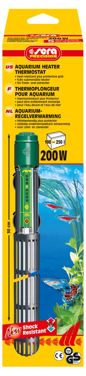 Нагреватель для аквариума Sera Precision, 200 Вт нагреватель sera precision 300w aquarium heater thermostat protective grid с защитной сеткой регулируемый для воды в аквариуме 300вт