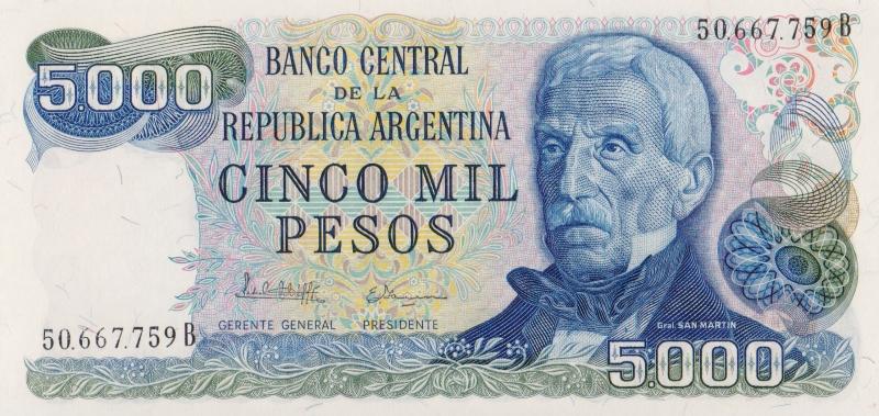 Банкнота номиналом 5000 песо. Аргентина, 1977-1983 гг.