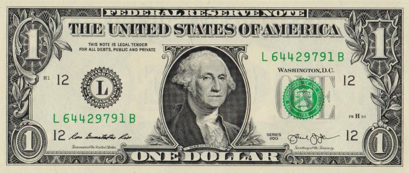 Банкнота номиналом 1 доллар. США. Сан-Франциско, 2013 год