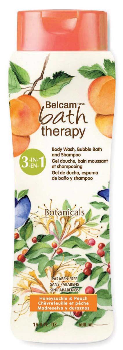 Bath Therapy Шампунь, Гель Для Душа, Пена Для Ванны «Жимолость и персик» 3-в-1, 500 мл.
