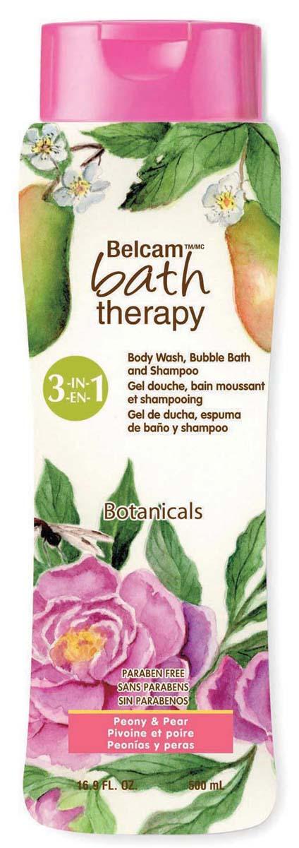 Bath Therapy Шампунь, Гель Для Душа, Пена Для Ванны «Пион и Груша» 3-в-1, 500 мл.