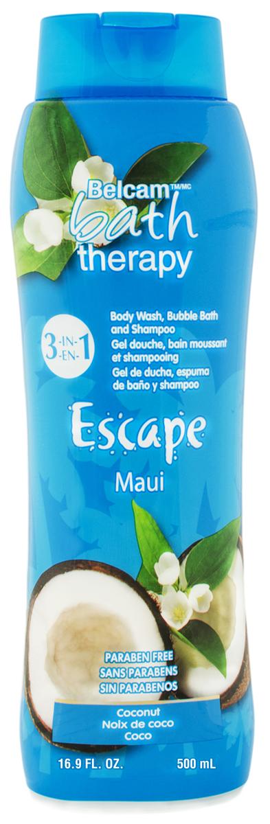 Bath Therapy Шампунь, Гель для Душа, Пена для Ванны Кокос Мауи 3-в-1, 500 мл.
