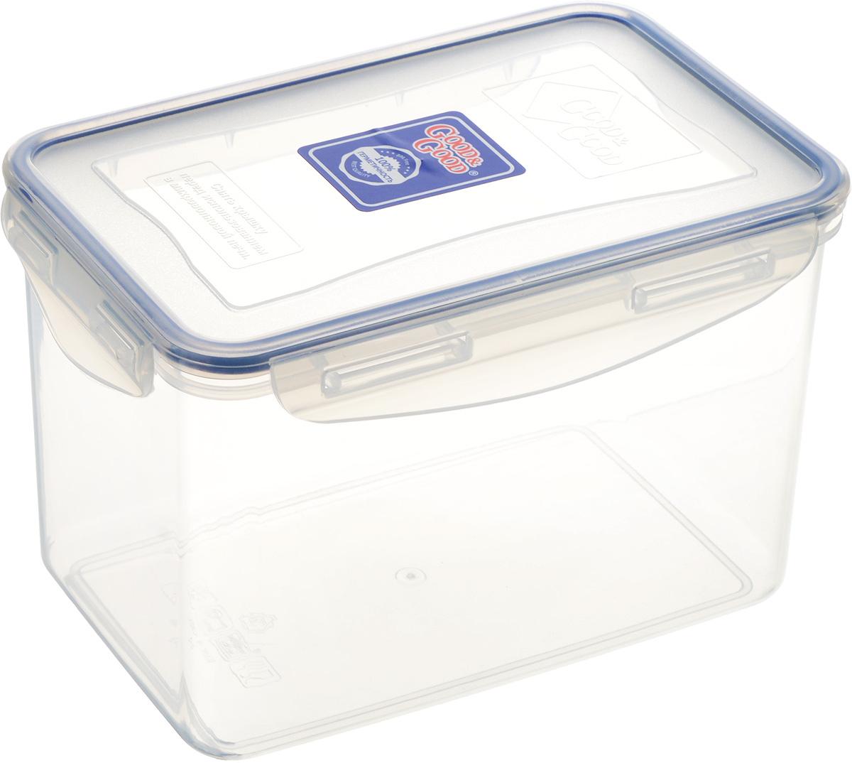 Контейнер пищевой Good&Good, цвет: прозрачный, темно-синий, 2,2 л контейнер пищевой good