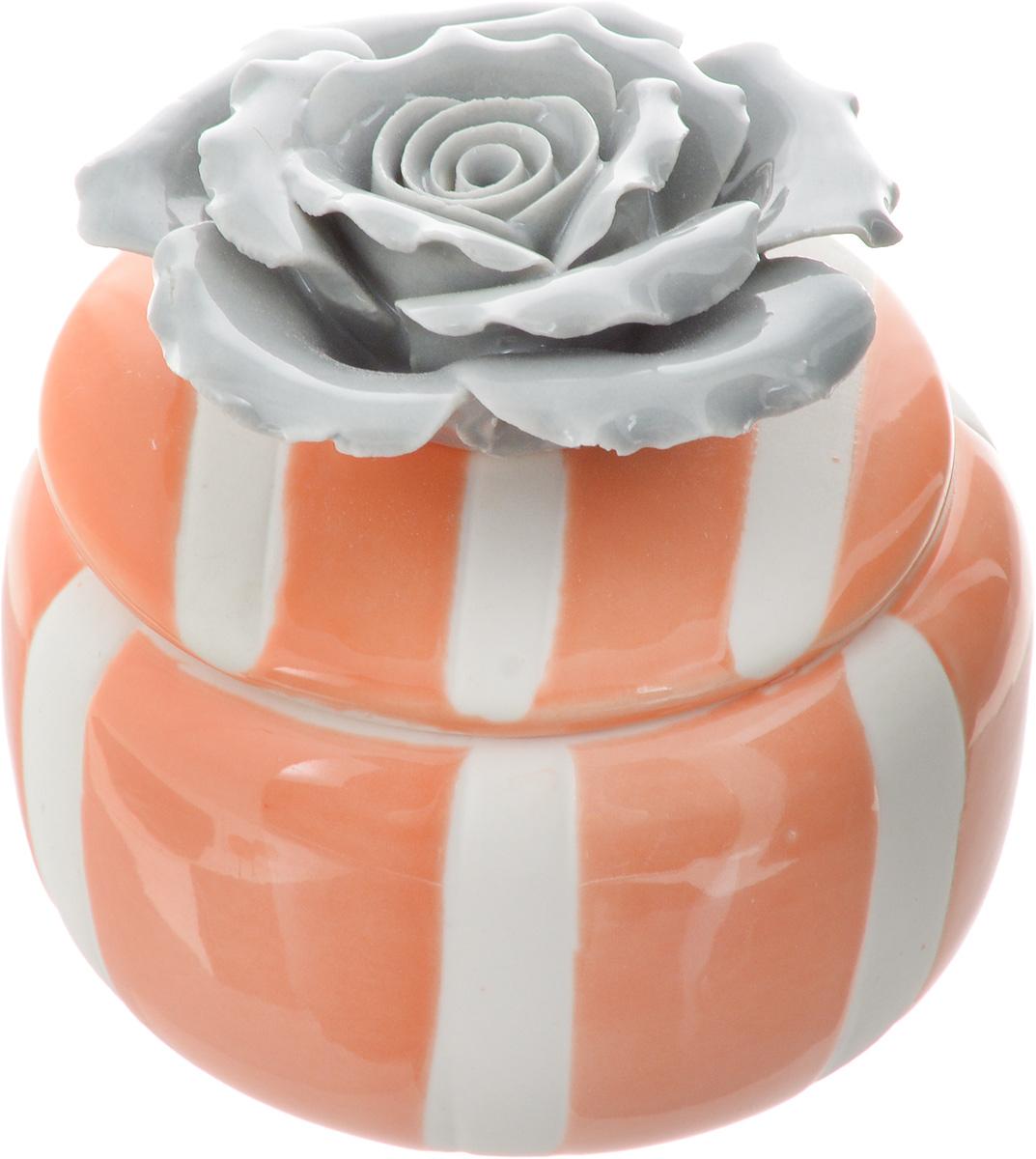 "Шкатулка для украшений ""Феникс-Презент"", цвет: оранжевый, серый, белый, 6,5 х 6,5 х 6,5 см"