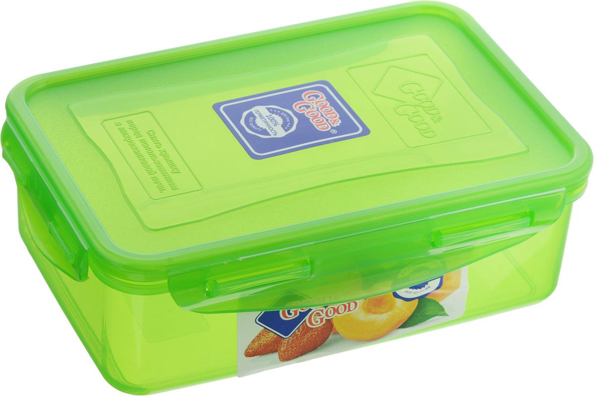 Контейнер пищевой Good&Good, цвет: зеленый, 1,1 л контейнер пищевой good