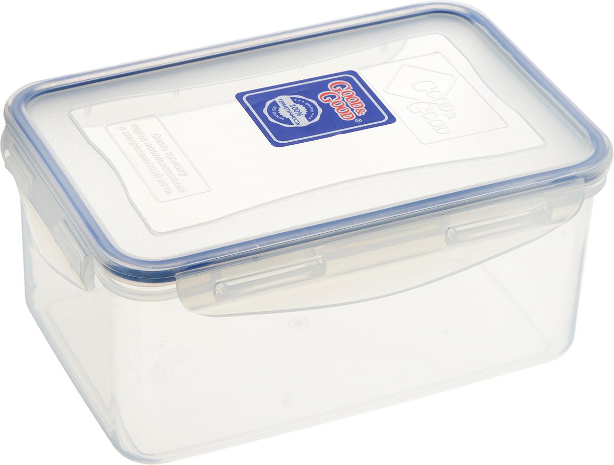 Контейнер пищевой Good&Good, цвет: прозрачный, темно-синий, 1,5 л контейнер пищевой good