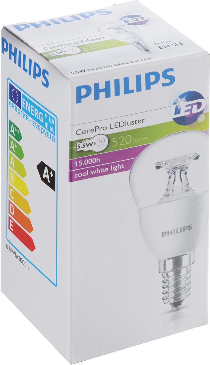 Лампа светодиодная Philips CorePro LEDluster, прозрачная колба, цоколь E14, 5,5W, 4000K [супермаркет] джингдонг филипс philips светодиодные лампы интерьера исследование лампа прикроватная шампанского прохладный fun 4 6w 4000k 66027