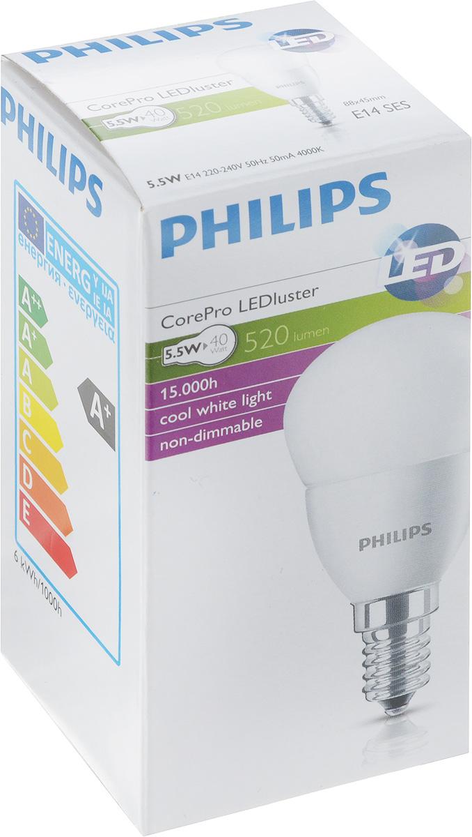 Лампа светодиодная Philips CorePro LEDluster, матовая колба, цоколь E14, 5,5W, 4000K [супермаркет] джингдонг филипс philips светодиодные лампы интерьера исследование лампа прикроватная шампанского прохладный fun 4 6w 4000k 66027