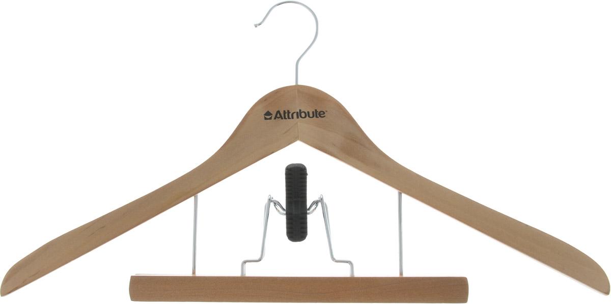 Вешалка для костюма Attribute Hanger, с деревянным зажимом для брюк, цвет: бежевый, длина 44 см вешалка универсальная attribute hanger classic прямая длина 44 см