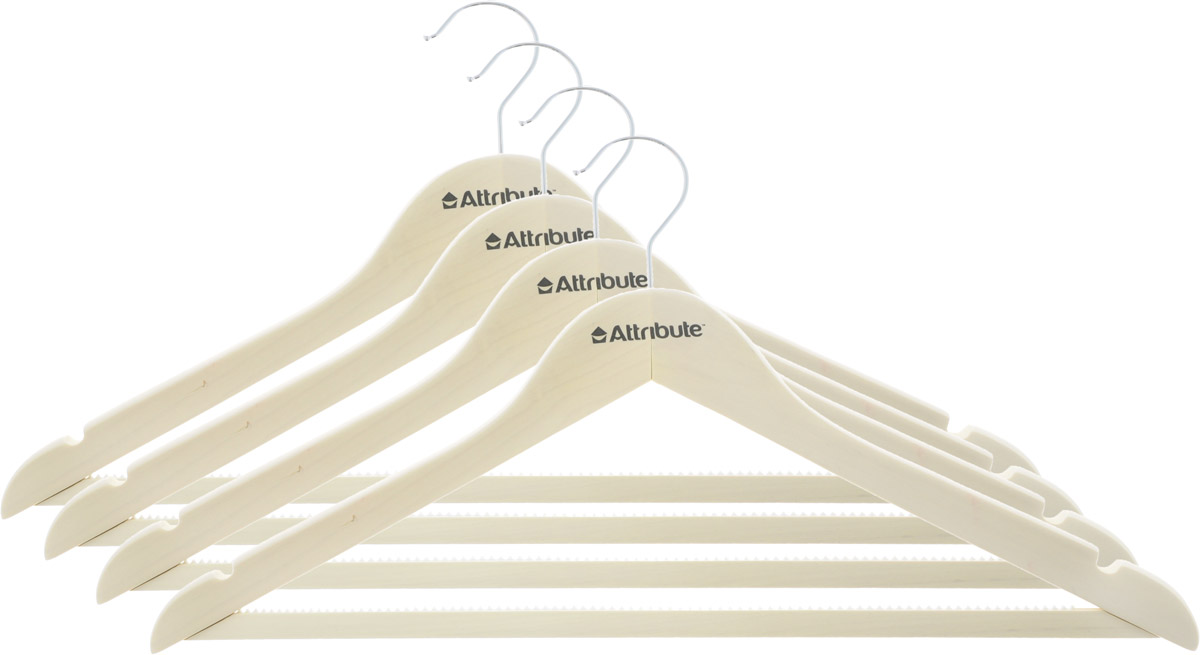 Набор вешалок для одежды Attribute Hanger Siluet, цвет: кремовый, 4 шт. AHP224 набор вешалок для одежды attribute hanger bamboo 3 шт