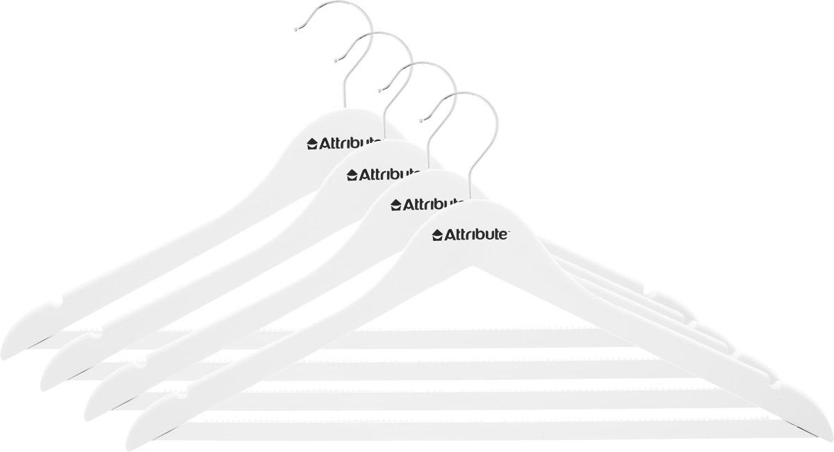 Набор вешалок для одежды Attribute Hanger Siluet, цвет: белый, 4 шт набор вешалок для одежды attribute hanger bamboo 3 шт