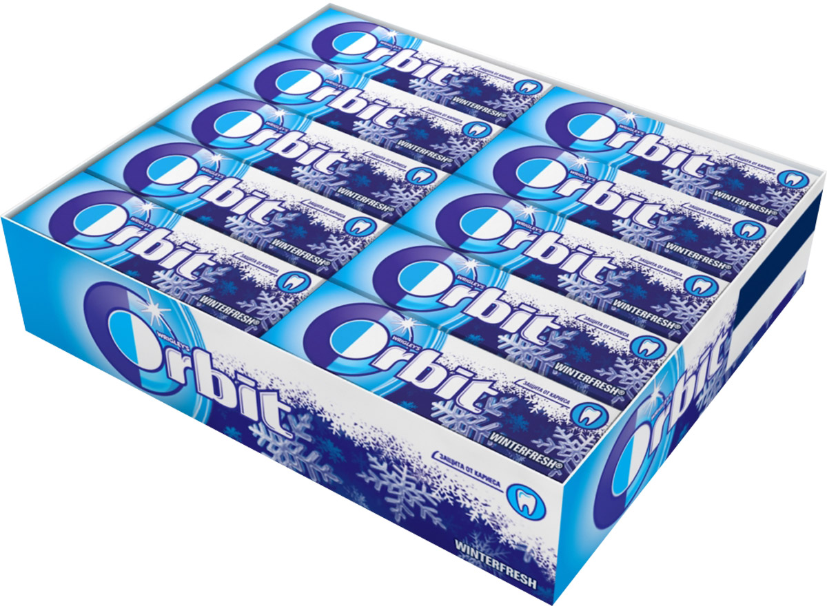 Orbit Winterfresh жевательная резинка без сахара, 30 пачек по 13,6 г цена