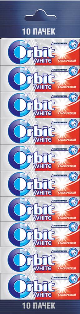 Orbit White Классический жевательная резинка без сахара, 10 пачек по 13,6 г жевательная резинка orbit mega white мята 16 г