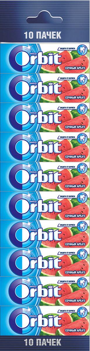 Orbit Сочный арбуз жевательная резинка без сахара, 10 пачек по 13,6 г цена