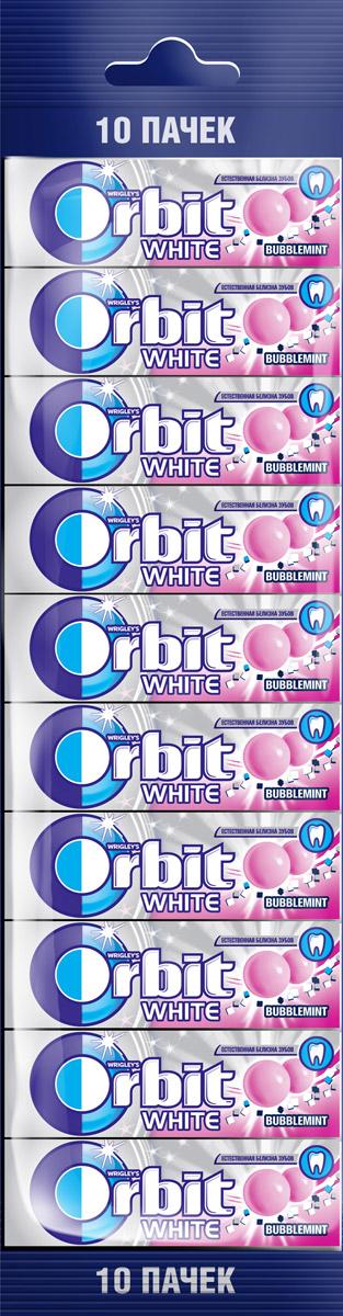 Orbit White Bubblemint жевательная резинка без сахара, 10 пачек по 13,6 г жевательная резинка orbit mega white мята 16 г