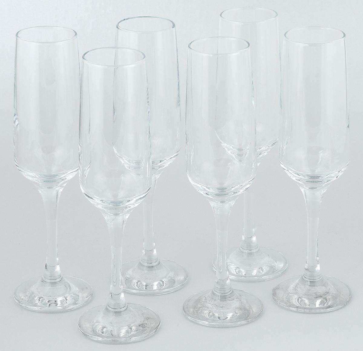 Набор фужеров для шампанского Pasabahce Isabella, 200 мл, 6 шт набор фужеров для шампанского pasabahce bistro цвет прозрачный 275 мл 6 шт