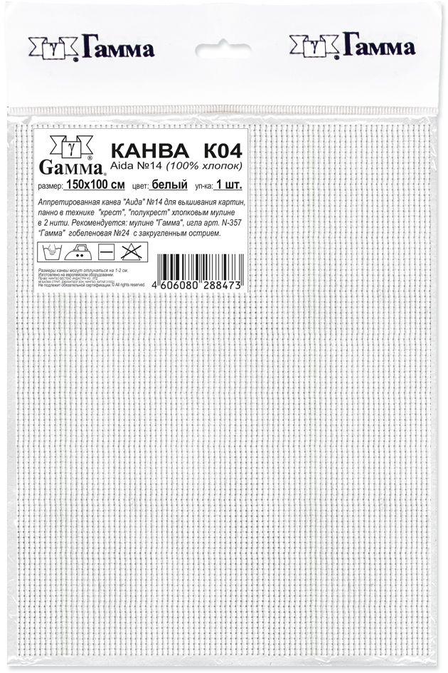 Канва для вышивания Gamma Aida 14, цвет: белый, 150 х 100 см канва с рисунком для вышивания орхидеи 28 х 34 см 1316