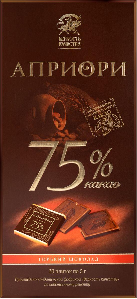 Априори горький шоколад 75%, 100 г априори горький шоколад 99