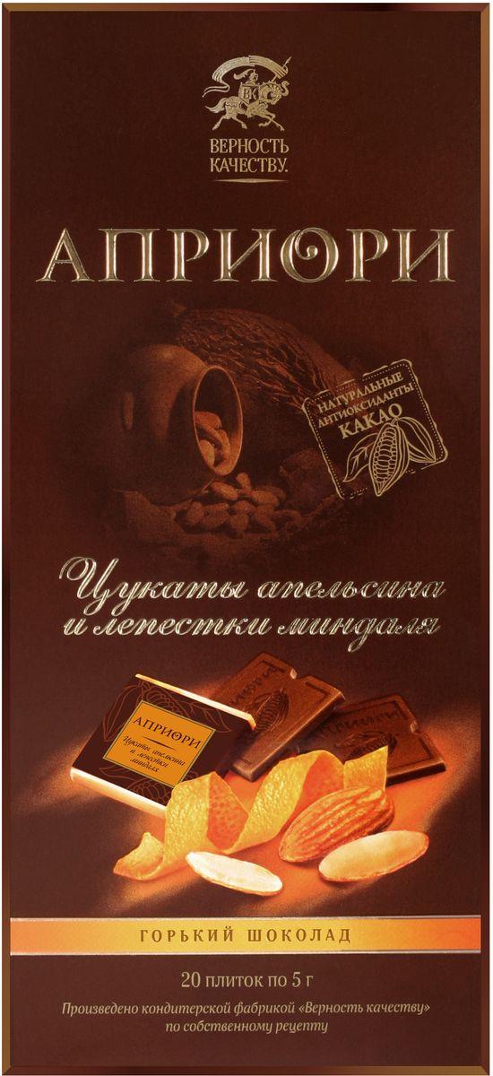 Априори горький шоколад цукаты апельсина и лепестки миндаля, 100 г априори горький шоколад 99