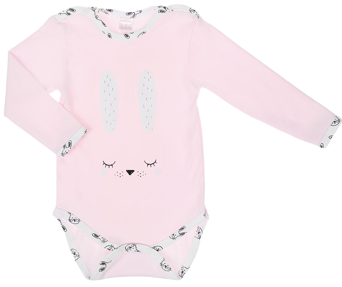 Боди КотМарКот боди для девочки котмаркот зимние зайцы цвет розовый 9682 размер 62