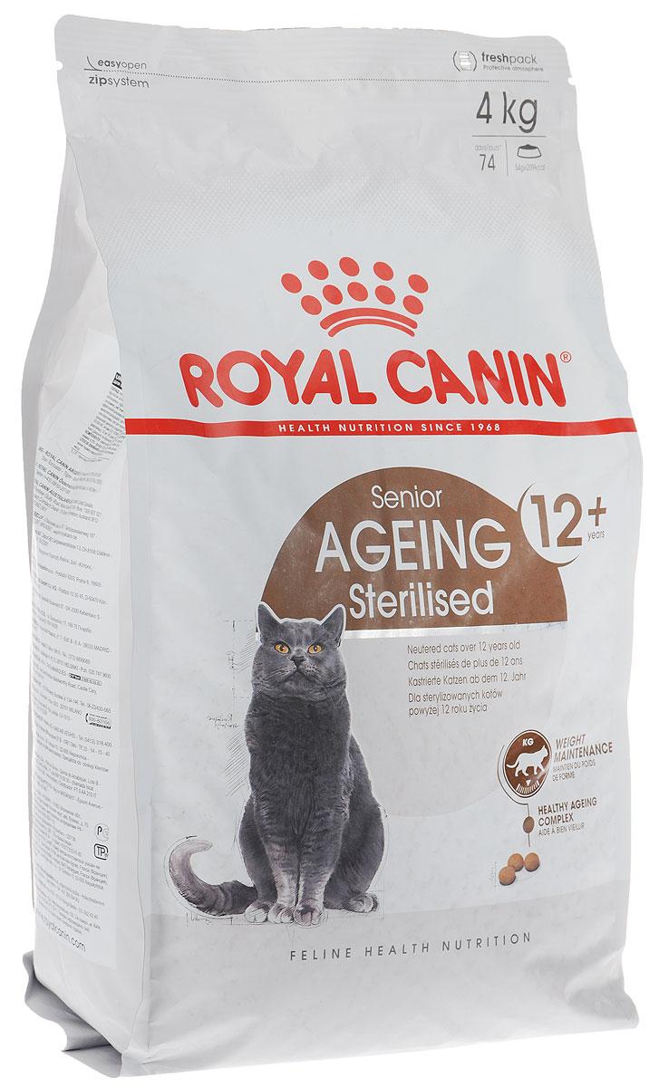 Корм сухой Royal Canin Senior Ageing Sterilised, для стерилизованных кошек старше 12 лет, 4 кг корм royal canin sterilised 37 400g для кошек 677104